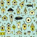 Birdhouses, seamless pattern for your design