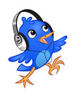 Birdie music lover blue cheerful with a headphones on the white background Stock Image