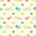 Birdies branch seamless pattern vector