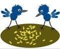 Birdies pecking grain