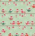 Birds cartoon party christmas design Royalty Free Stock Photo