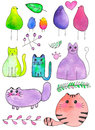Birds, cats and plants. Hand-drawn cartoon characters. Real watercolor drawing. Vector illustration.
