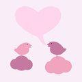 Birds on clouds with hearty speech bubble two cute sitting in the shape of heart and space for you own text isolated light pink Stock Photo