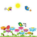Birds colorful and cute on the flowers Royalty Free Stock Images