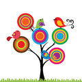 Birds colorful and cute on the tree Royalty Free Stock Photo