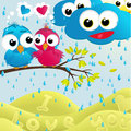 Birds couple under the rain vector illustration Stock Photo