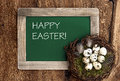 Birds eggs in nest and vintage blackboard on rustic wooden background with sample text happy easter Royalty Free Stock Photography