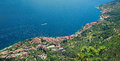 Birds eye view garda lake west coastline Royalty Free Stock Photo