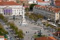 Birds eye view of rossio main square of lisbon portugal Royalty Free Stock Photos