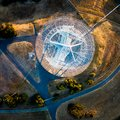 View of Stanford Sattelite Dish from the air Royalty Free Stock Photo
