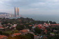 Birds eye view twin towers and gulangyu island in xiamen city southeast china of the will become the tallest Stock Image