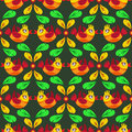 Birds and feather seamless pattern bright Royalty Free Stock Image