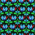 Birds and feather seamless pattern colorful green blue Stock Photos