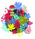 Birds flowers and other nature vector illustration Stock Photo