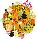 Birds flowers and other nature vector pattern illustration Royalty Free Stock Photography