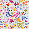 Birds and flowers pattern Royalty Free Stock Photos