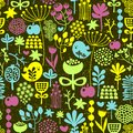 Birds and flowers seamless pattern colorful vector texture Stock Photo