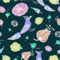 Birds and flowers seamless vector pattern on black background
