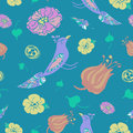 Birds and flowers seamless vector pattern on dark blue background