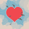 Birds flying and heart in the sky around Stock Photos