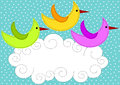 Birds flying over cloud invitation card Stock Images