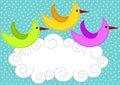 Aves vuelo nube tarjeta
