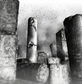 Birds flying over ruined columns black and white view of flock of stone with fog effect Stock Photography