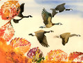 Birds flying to south autumn hand drawn painting Stock Image