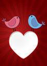 Birds heart illustration of two with red Royalty Free Stock Photos