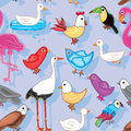 Birds Land Seamless Pattern Stock Image