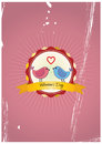 Birds love badge illustration of in with ribbon Royalty Free Stock Photography