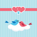 Birds in love on a cloud cute illustration Royalty Free Stock Photo
