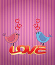 Birds love illustration of two with text Stock Images