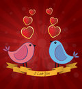 Birds love illustration of two with text Stock Image