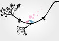 Birds love in tree vector