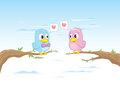 Birds in love valentines day elements Stock Photo