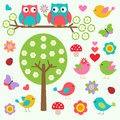 Birds and owls in spring forest Stock Photography