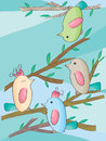Birds rest illustration of on tree card Stock Images