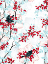 Birds seamless pattern with trees flowers and vintage wallpaper vector illustration Stock Images