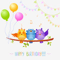 Birds sing birthday illustration of funny characters happy Stock Images