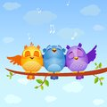 Birds sing illustration of funny characters Stock Photo