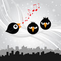 Birds singing (black version) Stock Images