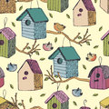 Birds and starling houses background seamless Stock Photos