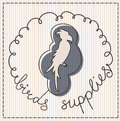 Birds supplies label calligraphic handwritten Stock Image