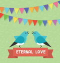 Birds and text banner eternal love, flags, garlands. Vector illustration for saint valentine day, birthday, holiday Royalty Free Stock Photo