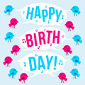 Birds text happy birthday vector illustration Royalty Free Stock Image