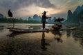 Birds trainning li river of xingping quilin china Stock Photo