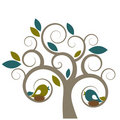 Aves y árbol