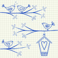 Birds on a tree drawing illustration of sitting branch with birdhouse Stock Image