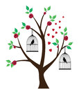 Birds and tree illustration of in cages in the with red roses hearts Royalty Free Stock Photography